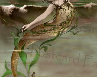 Real Photo MERMAID, Vintage French Postcard, Instant DIGITAL Download