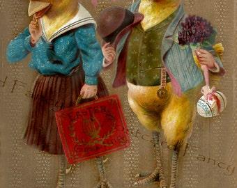 Dapper DRESSED Easter Chicks, Vintage Fantasy Postcard, Instant Digital Download