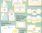 Yellow Elephant Baby Shower DIY Printable PDF Party