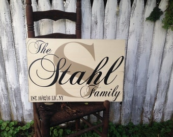 Custom Personalized Rustic Distressed Pallet Style Sign Last Name Initial Established Date The Family 16x24