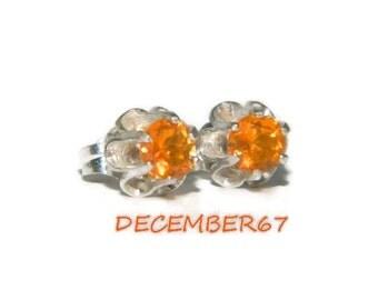 Fire Opal Earrings, Sterling Silver Studs, Buttercup Setting