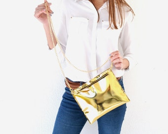Gold leather purse / Leather clutch / Handmade leather bag with gold metal chain