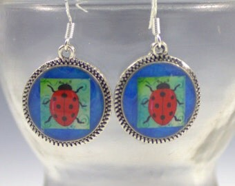 Ladybug Lady Bug Earrings 3D Dimensional Picture Jewelry  Silver Bronze Round