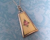 Vintage Guilloché Enamel Locket, Yellow Enamel and Rose, Long Silver Chain, Wedding Locket, Gift for Her
