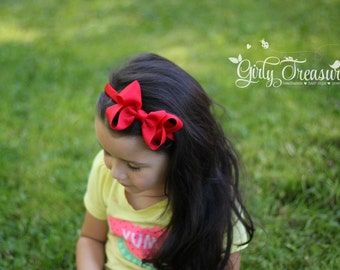 Red Bow Headband. Girls Red Bow Headband. Girl Headband. Big Girl Headband. Snow White Bow Headband. Large Red Bow Headband.
