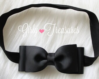 Black Grosgrain double layered Bow Headband. Baby Headband. Girl Headband. Newborn Headband. Alice in Wonderland.