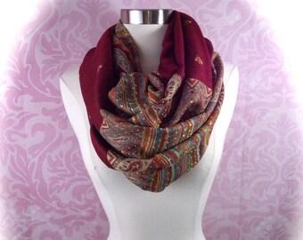 paisley infinity scarf/Christmas scarf/Colorful paisley scarf