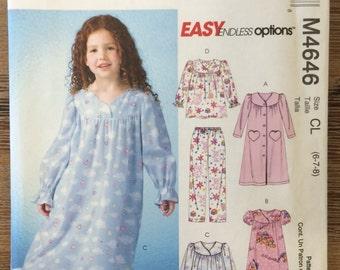 UNCUT Girl's & Boy's Child's Pajamas Pattern McCall's 4646 Size 6-7-8 Night gown, Pajama Pants, Shirt, Christmas Pajamas