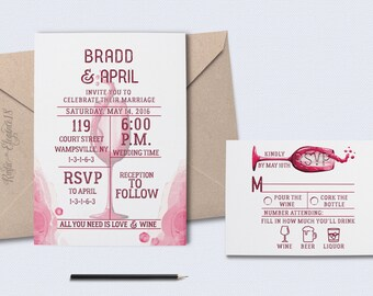 Modern Wine Wedding Invitation Suite DEPOSIT Set/Wine Invite/Wine Rsvp Card