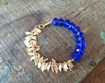 Cobalt Glass Beads, Delicate Leaf Chain Bracelet