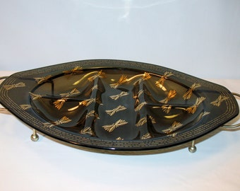 Gorgeous Veggie Tray with 18K Gold Butterflies Smoked Glass Vintage Tray and Stand