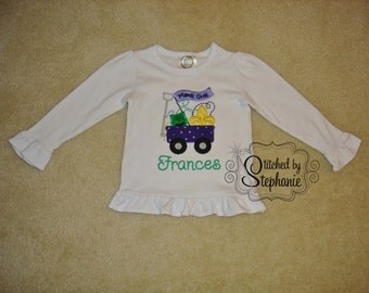 Girls Embroidered Personalized Monogrammed Purple Green Gold Mardi Gras Fleur de Lis Wagon Applique White Long Sleeve Ruffle Shirt Bodysuit