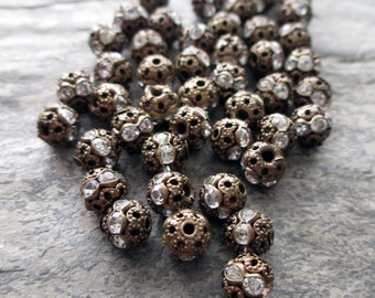 6 mm antiqued bronze filigree clear rhinestone bead vintage style, lot of 10 pcs