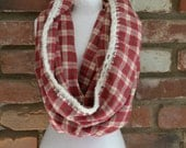 Red & White Plaid Scarf, Red and White Plaid Cowl, Infinity Scarf, Cowl, Plaid Cowl, Plaid Infinity Scarf, Women's Scarf, Women's Cowl