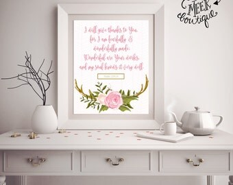 INSTANT DOWNLOAD, Psalm 139:14, Fearfully and Wonderfully Made, Printable, No. 660
