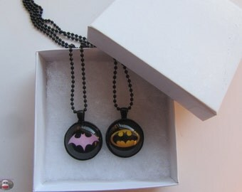 BatGirl Batman Robin Couples Necklace BFF Glass Pendant Necklace