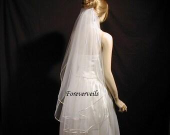 Fingertip wedding veil, 2 tier fingertip bridal veil, satin cording, 40 inches - white, ivory, diamond white, champagne or black