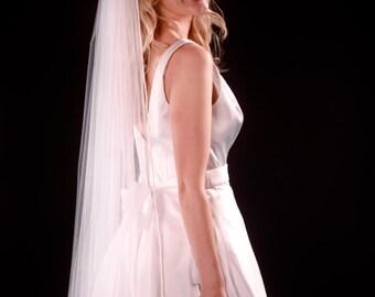 "Diamond White Cathedral bridal veil, 1 tier cathedral wedding veil 108"" white, ivory - satin cording, pencil edge, ribbon"