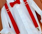 David's Bridal Vera Wang Valentina Bowtie and Suspender Set, Little Boy Valentina Red Bowtie, Valentina suspender David's Bridal Red tie