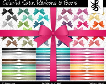 Digital Clipart-Colorful Satin Ribbons and Bows-Clipart Bows-Clipart Ribbons-Digital Bows-Colorful Satin Ribbons-Instant Download Clip Art