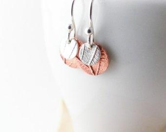 Silver Drop Earrings - Copper Earrings - Round Earrings - Silver Disc Earrings - Delicate Earrings - Leaf Earrings - Copper Disc Earrings