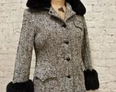 60s Wool Tweed and Black Fox Fur Jacket Coat