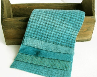 "Hand Dyed Felted Wool Fabric in Teal  5"" x 5""  Wool Charm Pack of 5"