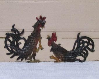 Pair Chicken or Rooster Metal Wall Hangings, Pair Metal Bird Decor