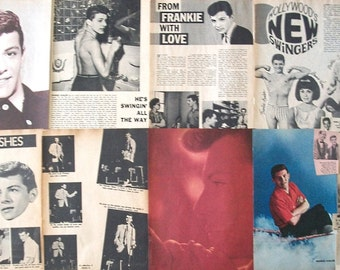 FRANKIE AVALON ~ Venus, Dinah, Beauty School Dropout, Grease, Beach Blanket Bingo ~ Color and B&W Clippings, Articles, Pin-Ups frm 1959-1966