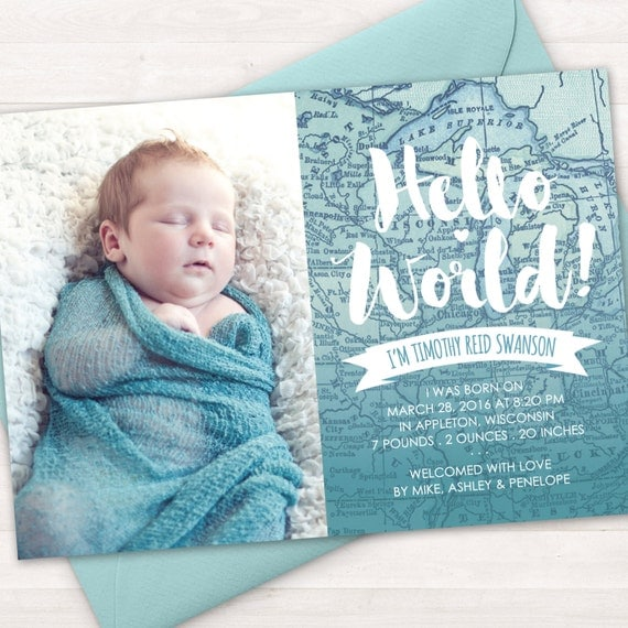 Birth Announcement Baby Birth Announcement Card Baby Boy – New Baby Born Announcement