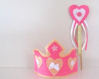 Pink Fairy Princesss Felt Crown, Waldorf Toy Birthday Hat