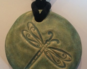 DRAGONFLY - Pendant / Necklace - Ceramic - OLD COPPER Art Glaze - Inspirational Art Piece