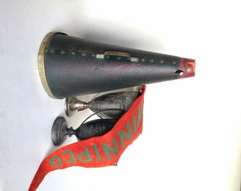 Antique Megaphone, Vintage Megaphone, Antique Cheerleading Megaphone, Vintage Sports Memorabilia, Antique Sports, Cheer Megaphone