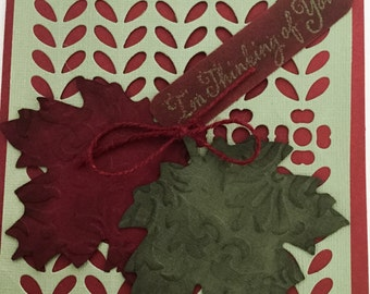 Hand made cards: Fall Thinking of you card - masculine card -  autumn card - burgundy leaves - embossed leaves,  khaki green