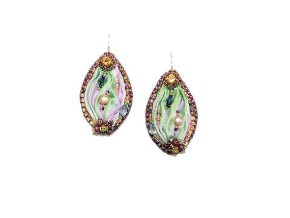 Bead Embroidered Earrings - Shibori Silk, Freshwater Pearls, Rhinestones. Purple Pink Lime Green Drop Earrings
