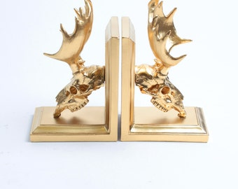 Moose Skull Bookends in Gold - Resin Moose Skull Bookends - White Faux Taxidermy - Gold Home Decor - Office Library Decor - Book Storage