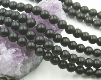 "Lot of 10 Strands 8mm Matte Black Onyx Beads Round 15.5"" (BH3030)"