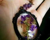 Real Dried Flowers Resin Cameo Amethyst Pendant // Purple Forget me Nots