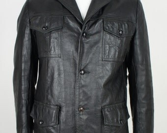 Vintage 70's Black Leather Guido Jacket with Removable Liner size Medium