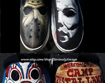 Mike Myers Halloween, Jason Friday The 13th Custom Painted Classic Horror Movies Vans Converse Toms shoes.  Bloody Fantastic!
