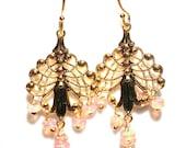 Dyed Pink Opal Earrings Opal Jewelry Chandelier Earrings Welo Opal Earring October Birthstone Trending Earring Delicate Earring Ballet Pink