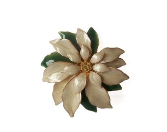 Vintage White Poinsettia Brooch pin Enameled Gold Tone