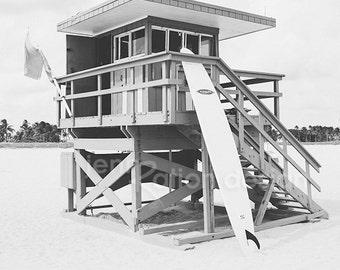 "Lifeguard Stand, South Beach, Miami, Beach Photography, Beach Art, Black and White Photo, Surfboard, Lifeguard Hut, 8"" x 10"" Photo"