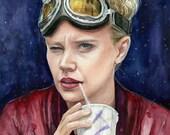 Jillian Holtzmann Ghostbusters Portrait, Watercolor Print, Holtzmann Art, Ghostbusters Art, Ghostbusters Holtzmann Painting, Kate McKinnon