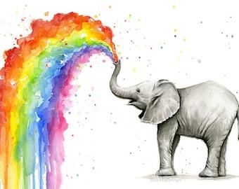 Elephant Nursery, Elephant Art, Baby Elephant Spraying Rainbow, Watercolor Painting Art Print, Cute Baby Animals Art, Nursery Decor