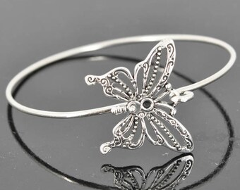 Butterfly Bangle, Sterling Silver Bangle, Butterfly Bracelet, Stackable Bangle, Charm, Bridesmaid Bangle, Bridesmaid jewelry,Bridal Bracelet