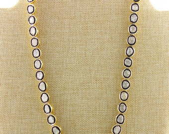 Pave Necklace, Rose Cut Diamond necklace, Diamond Rose Cut Necklace, Polki Diamond Necklace, Polki Chain, Large Rose Cut Chain, (RC/NEC/02)