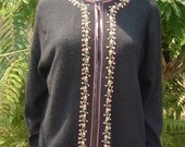 1950's Black Cardigan Cashmere Sweater Hand Embroidered, Satin Piped Edging and Fully Lined in Light Weight Silk Size 46