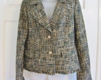 Tribal Jacket, Size 12,  Tweed Tan and Brown, Church, Business Clothes, Jacket for Women
