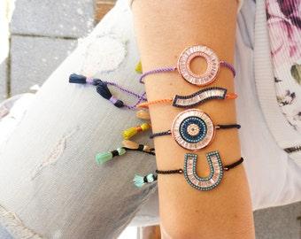 Silver boho bracelets, evil eye tassel bracelets, sterling silver bracelet, bohemian turkish evil eye 925 silver bracelet lucky eye bracelet